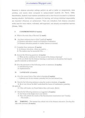 Examen de passage Communication en Anglais juin 2009