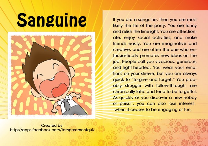 Popular sanguine personality traits