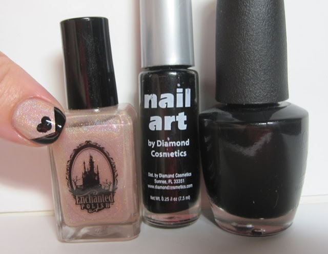 Bottle shot:  Enchanted Polish In The Nude, Black nail art striper, and OPI Black Onyx