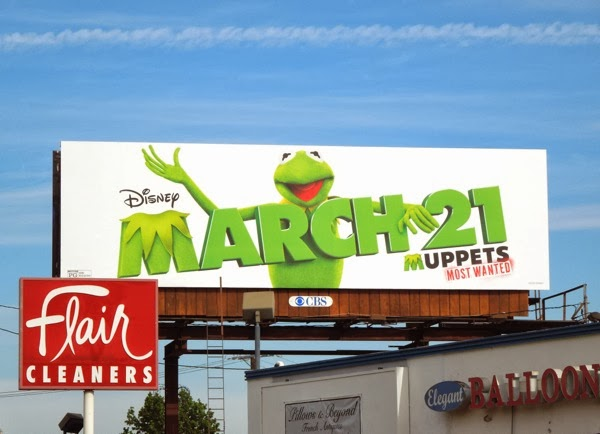 Kermit Muppets Most Wanted movie billboard