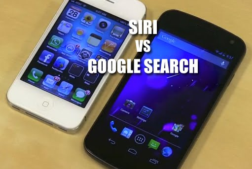 comparando 2 asistentes de voz Siri vs Google Voice Search