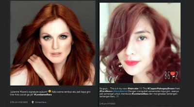 Warna Rambut Artis Dian Sastro Terbaru Merah Ala Hollywood