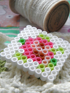 doll sized coasters made from ironing beads in scandinavian style.