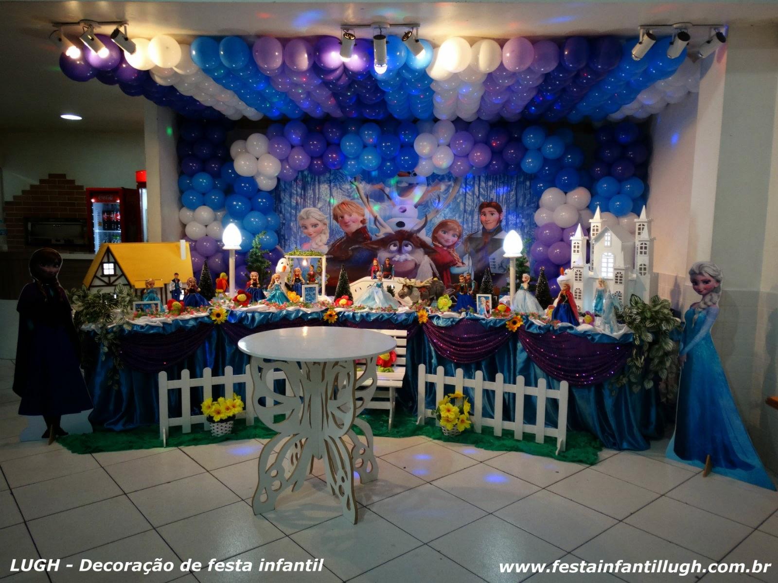 Tema Frozen para decoração de festa de aniversário infantil de meninas
