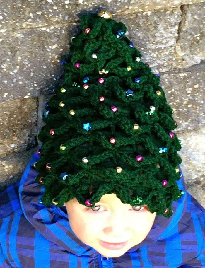 Moose Mouse Creations Beaded Christmas Tree Hat With A Jingle Bell