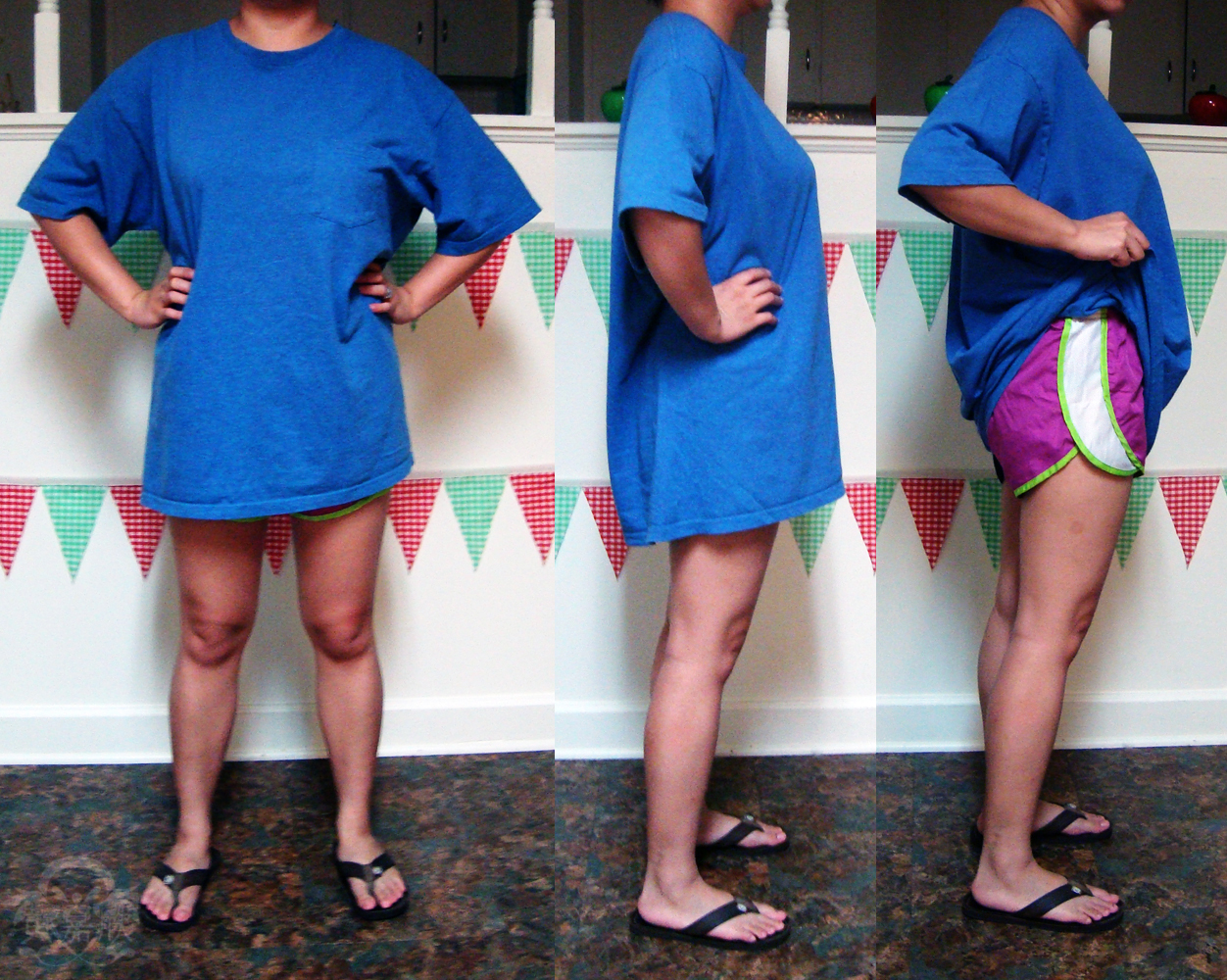 Jwo designs what not to wear giant t shirts and short shorts for Wear my t shirt