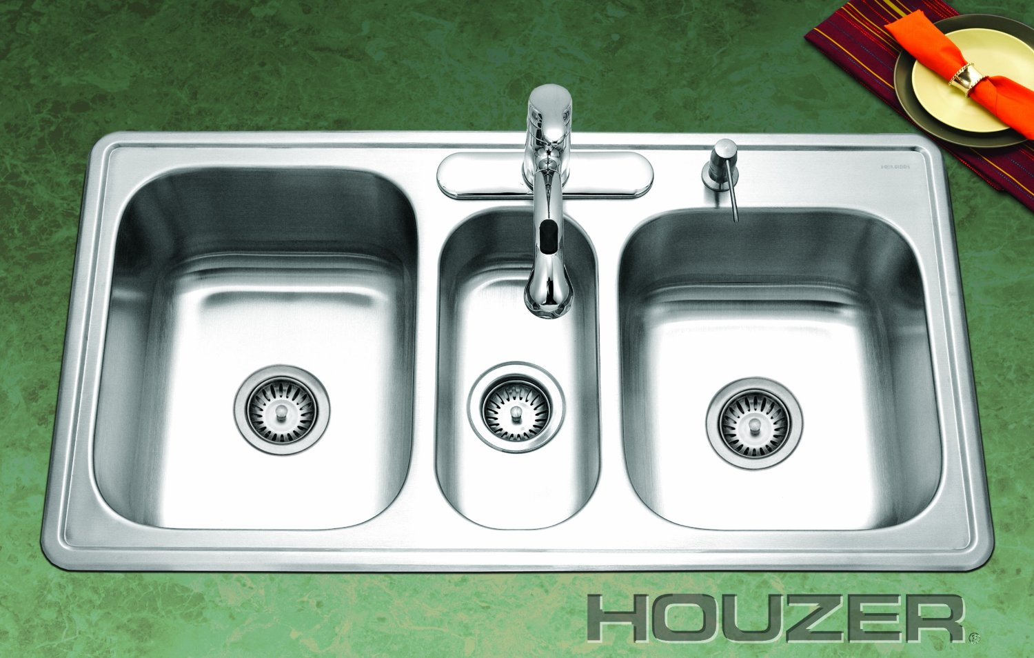 3 Bowl Kitchen Sink : ... Steel Kitchen Sink Drop In stainless steel triple bowl kitchen sink