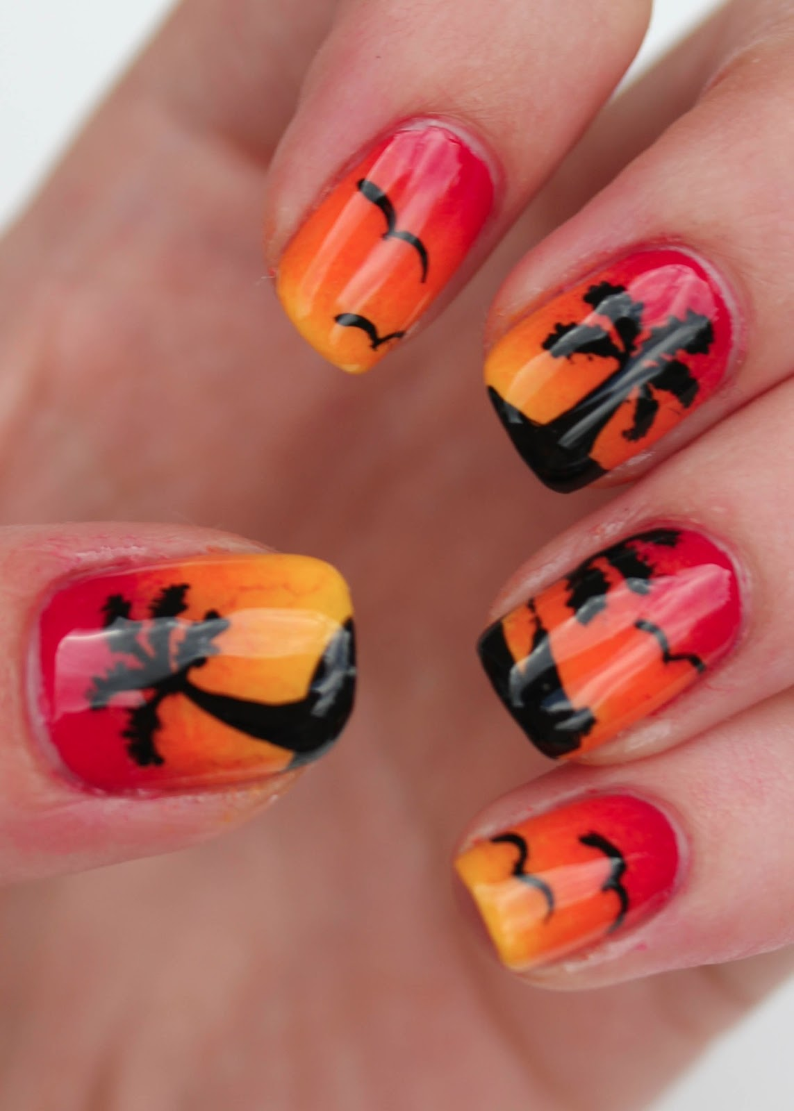 Palm Tree Nail Designs Sunset nail art with palm