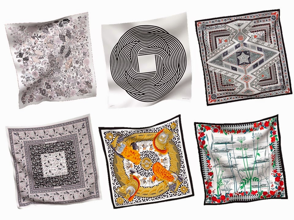 six black and white Hermes scarves Spring 2014