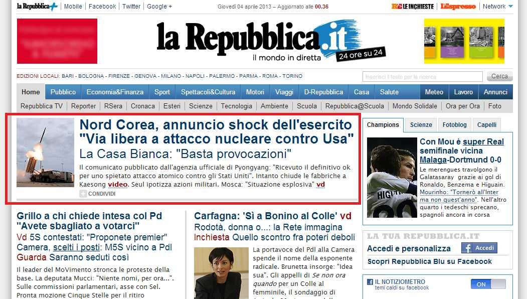 Libero non professionista notizie bomba diverso calibro for Home page repubblica