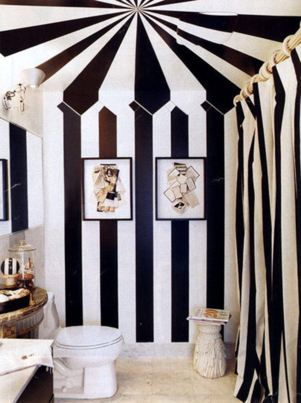 To da loos black white striped walls - Black and white striped wall ...