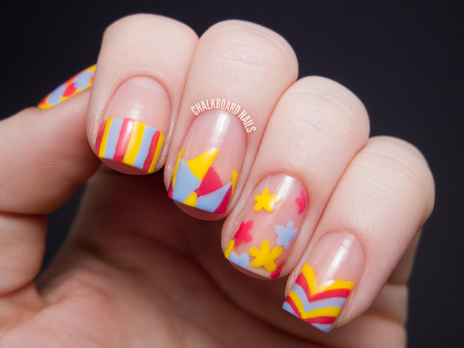 Sweet Spring Mix Over Nude   Chalkboard Nails   Nail Art Blog