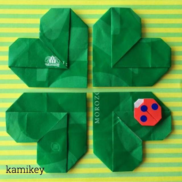 折り紙で4つ葉のクローバーとてんとう虫