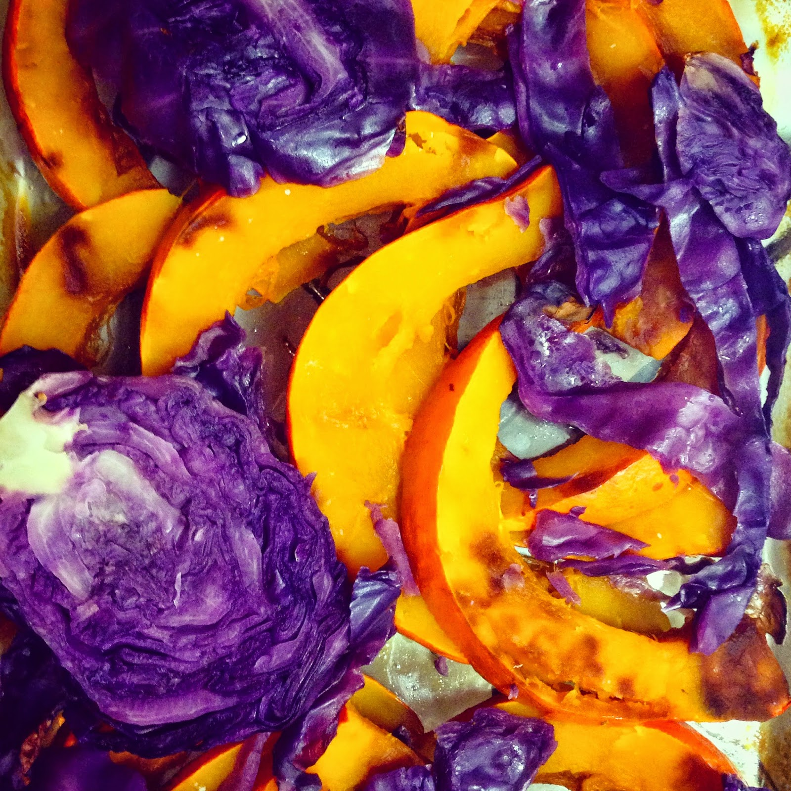 Roasted Squash and Red Cabbage