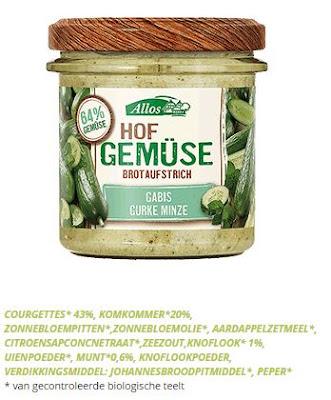 bron: http://www.biovita-shop.be/nl/vegetarisch-broodbeleg/farm-vegetables-komkommer-munt-135g/details