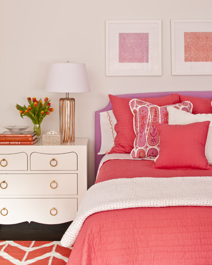 Pink and orange for a girl 39 s bedroom driven by decor for Coral bedroom decor