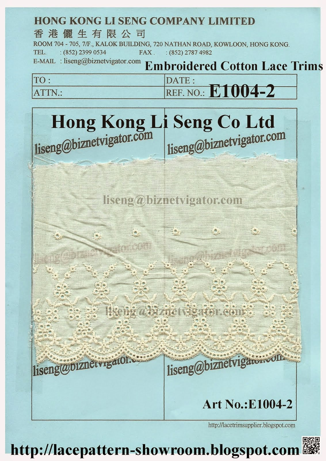 Simple Embroidered Cotton Lace Trims Manufacturer Wholesale and Supplier - Hong Kong Li Seng Co Ltd