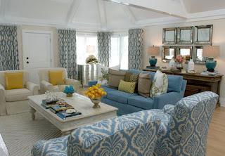 soggiorno bianco blu immagine
