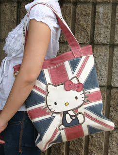 Hello Kitty London England Union Jack Tote Bag