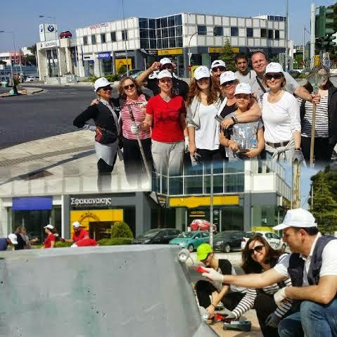 Lets Do it Greece: Περιφέρεια και εθελοντές έβαψαν μπάρες της Λεωφόρου Κηφισίας