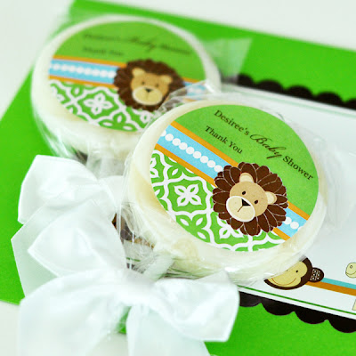 Personalized Jungle Themed Lollipop Favors