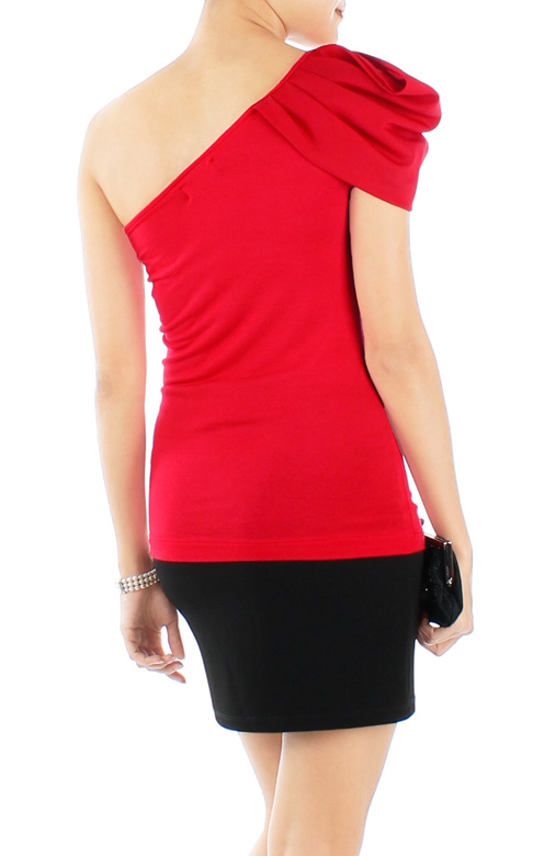 Red Shell Drape Single Shoulder Top
