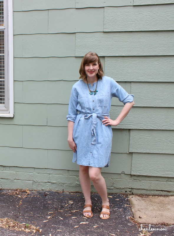 chambray shirtdress with neutral sandals | www.shealennon.com
