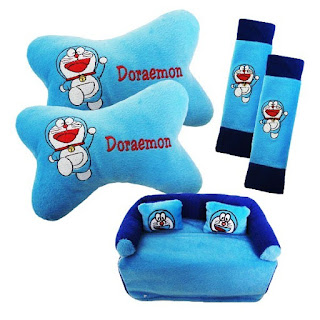 Bantal Mobil 3 in 1 Bordir Doraemon Warna Biru