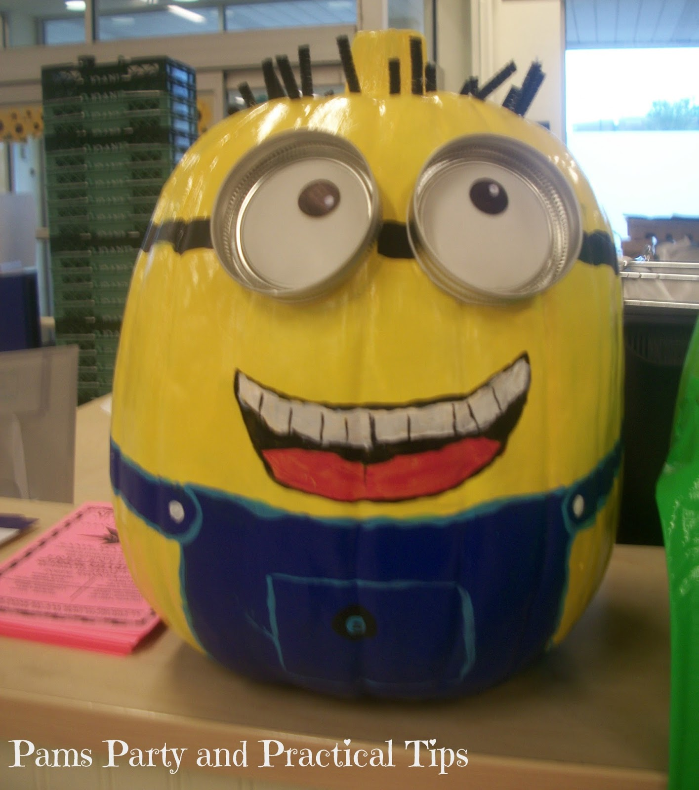 Painted Minion Pumpkins Pams Party Practical Tips Despicable Me Party Food And Game Ideas