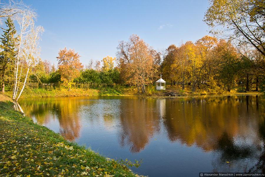 Пруд и беседка в парке усадьбы Пушкиных в Большом Болдине.