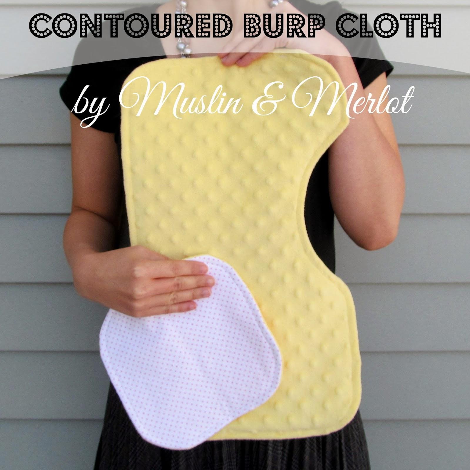 Contoured Burp Cloth by Muslin & Merlot. Free printable template!
