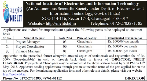 NIELIT Chandigarh Recruitment 2013 Details