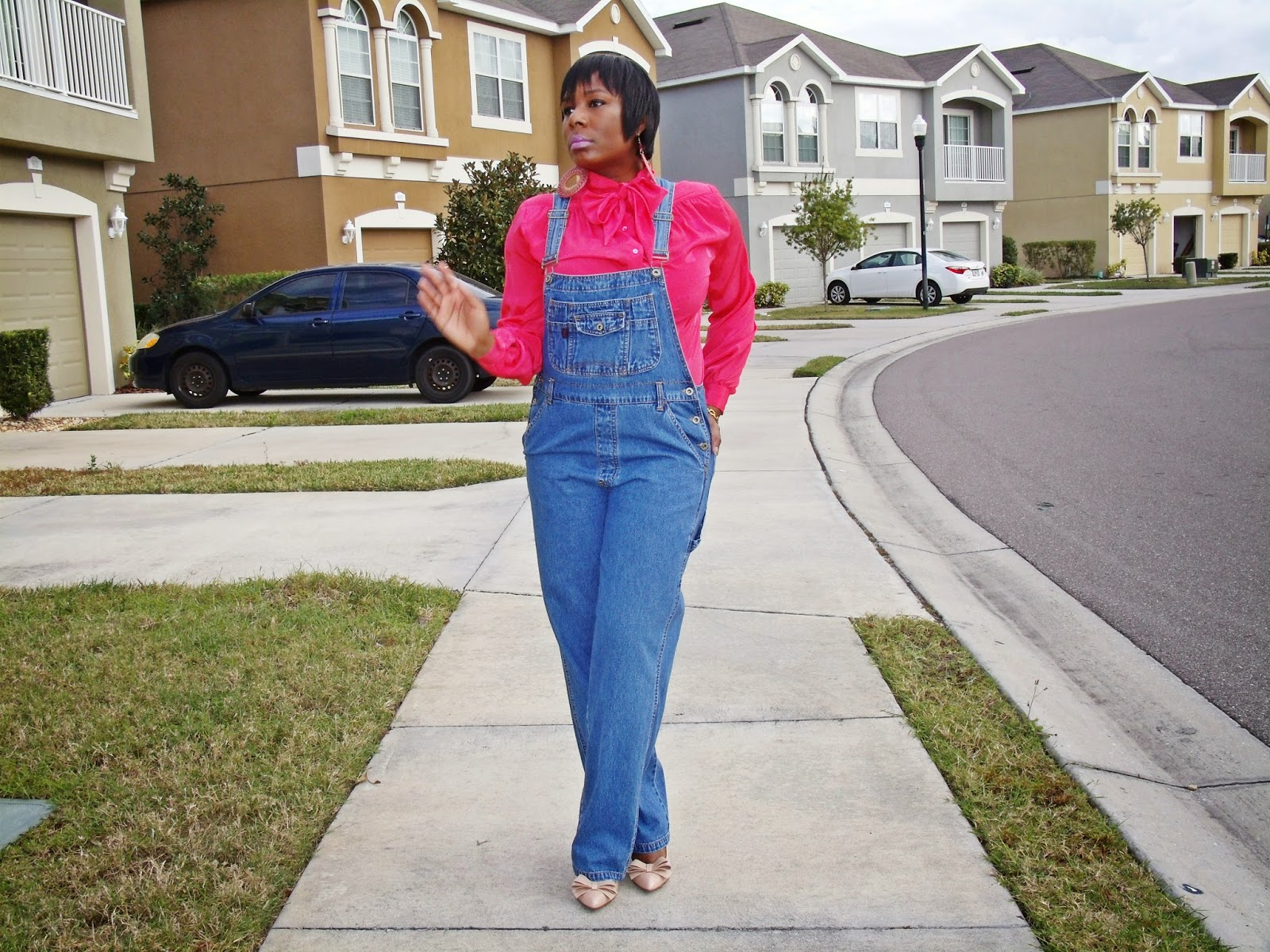 What I m Wearing Thrifted Denim Overalls Thrifted Pussy Bow Blouse worn