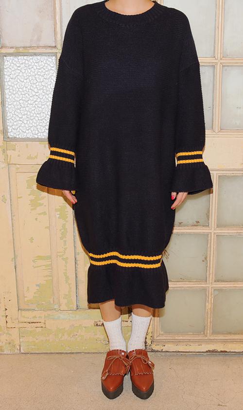 Stripe Trim Knit Dress