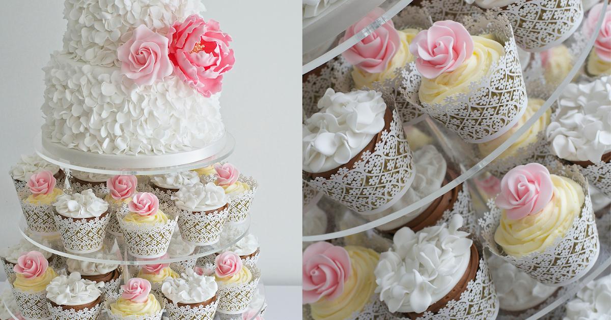 Petal Ruffles, Peonies and Roses Cupcake Tower