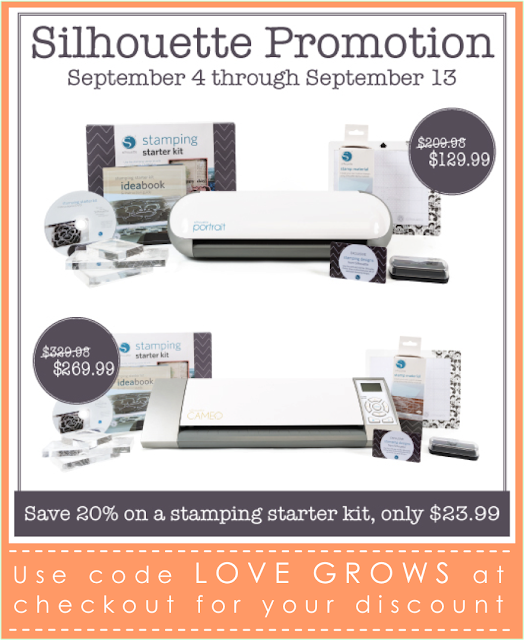 Get a great deal on the NEW Silhouette Stamping Starter Kit 9/4 - 9/13! Use code LOVEGROWS at checkout for your discount!