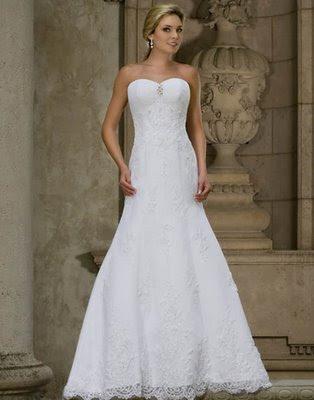 Emerald Bridal Simple Column White Dress