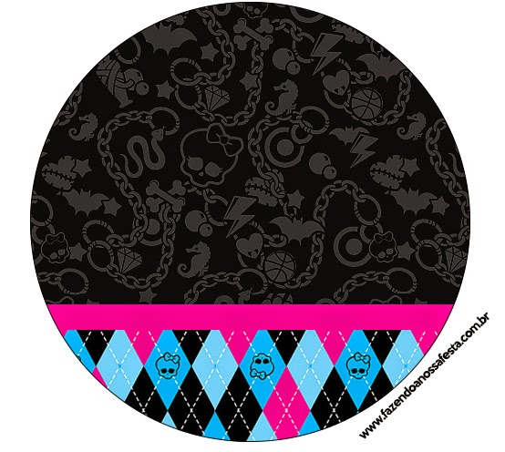 Toppers o etiquetas de Monster High Negro para imprimir gratis.