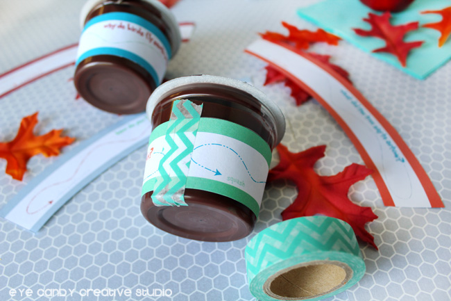 how to apply joke wraps on pudding cups, Hershey's pudding, leaves