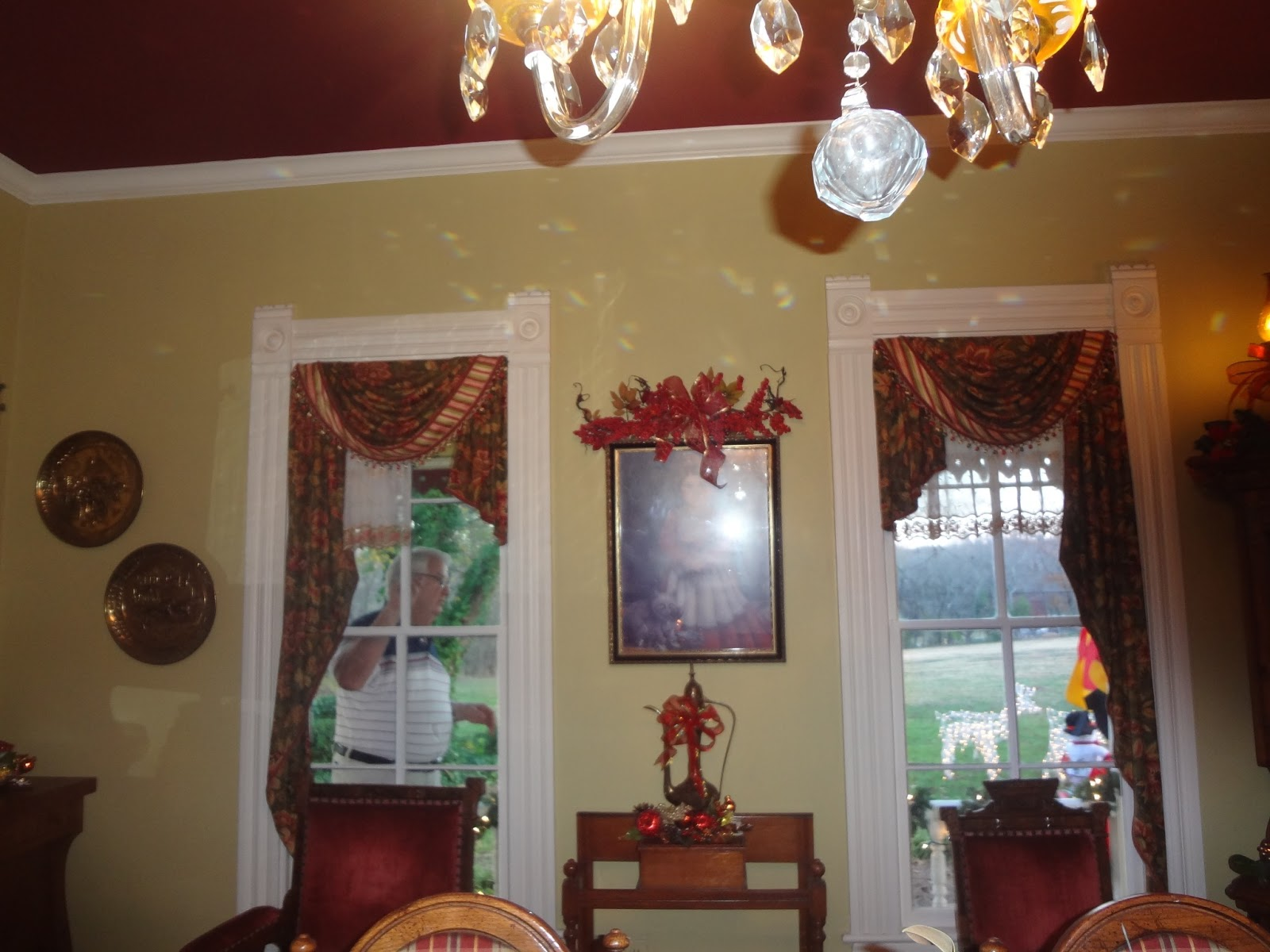 Custard Yellow and Cranberry Red Dining Room Colors