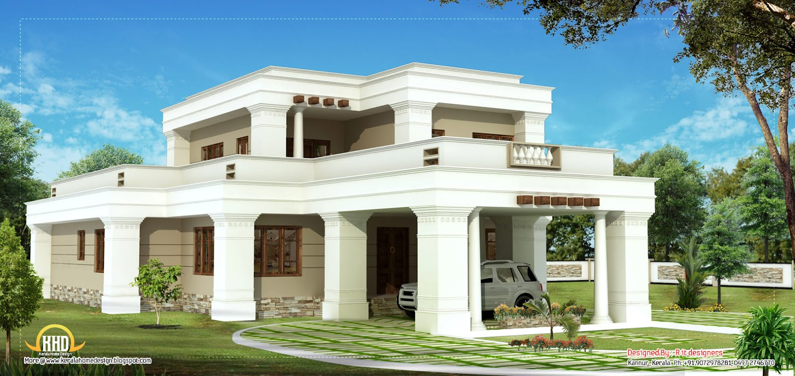 Double story square home design 2615 sq ft kerala for Kerala home designs photos in double floor