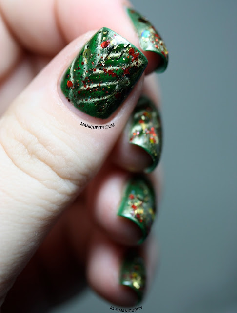 Manicurity | The Digit-al Dozen: Abstracted Christmas Tree with China Glaze Cling On + TONS of Glittahhhh!