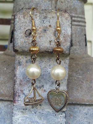 Victorian assemblage earrings with heart and ship charms