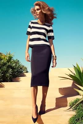 moda primavera 2014 H&M mujer falda lápiz top