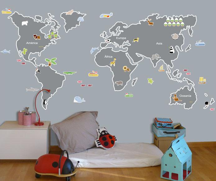 vinilos infantiles personalizados vinilo mapamundi animalitos