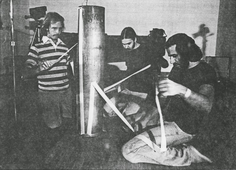 The Antenna Repairmen, MB Gordy Art Jarvinen and Bob Fernandez, in 1978 or 79 playing an amplified artillery shell with masking tape