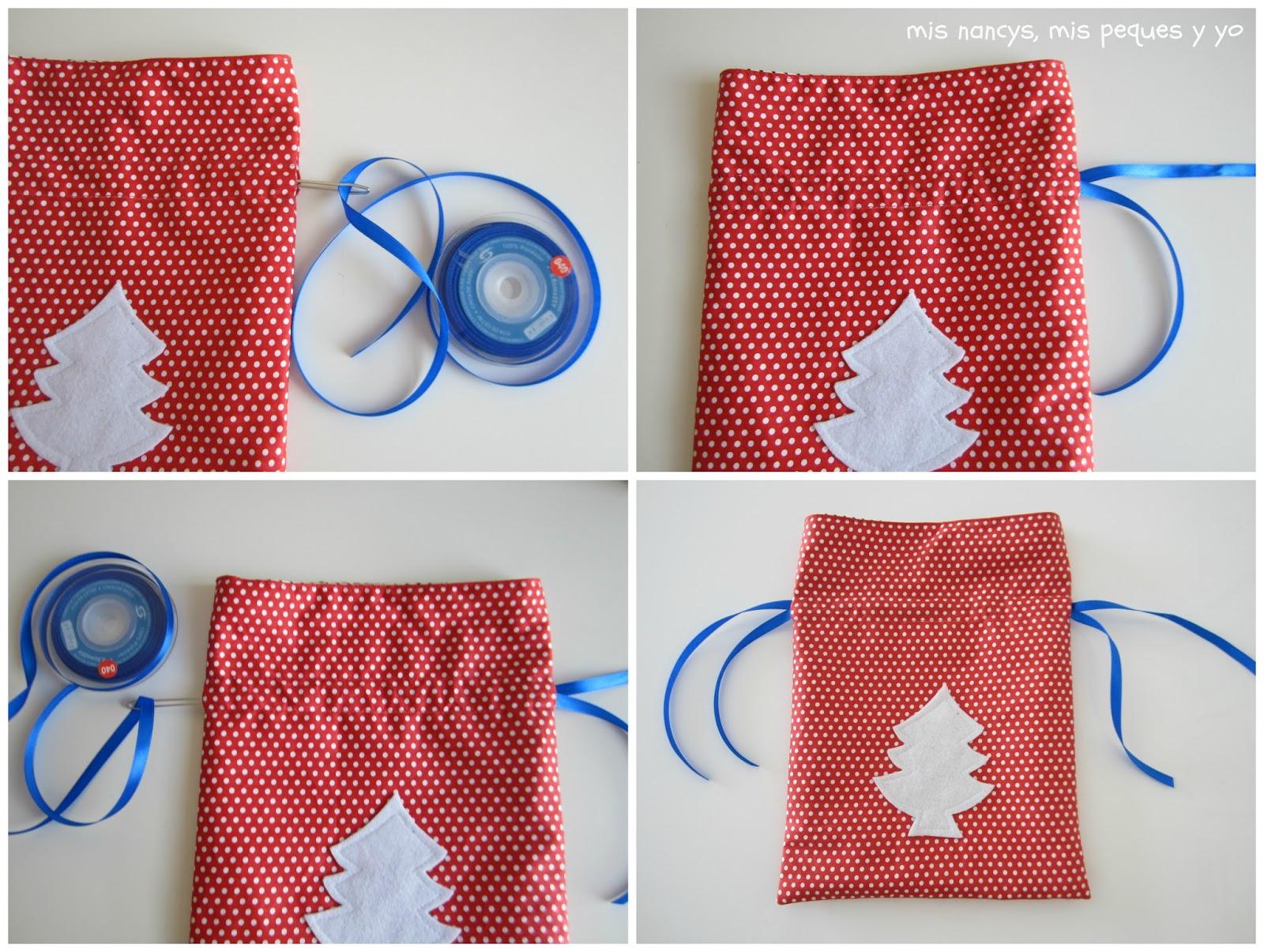 mis nancys, mis peques y yo, tutorial bolsitas de Navidad reversibles, pasar una cinta