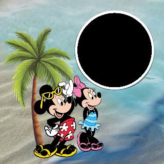 Mickey y minnie en la playa Marcos disney para imprimir