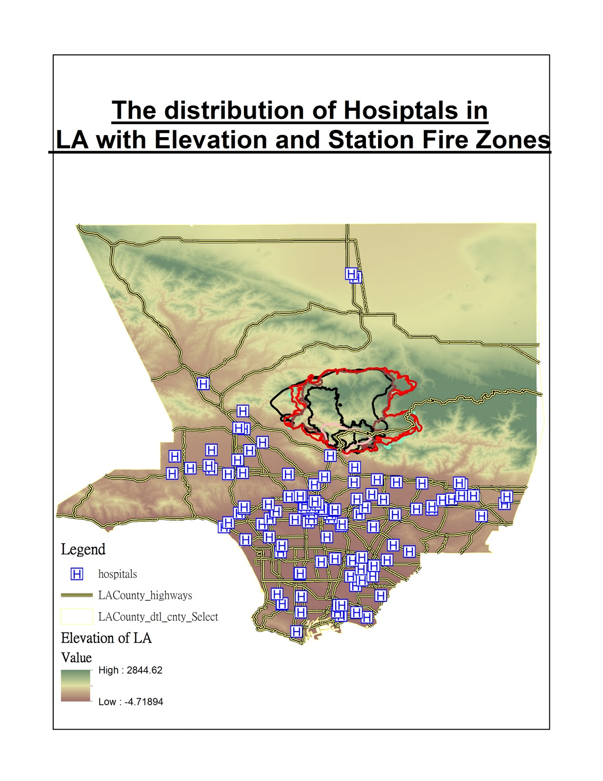 the second map shows the fire zones the hospitals and the freeway distribution in los angeles in order to find which one is the most dangerous and mostly