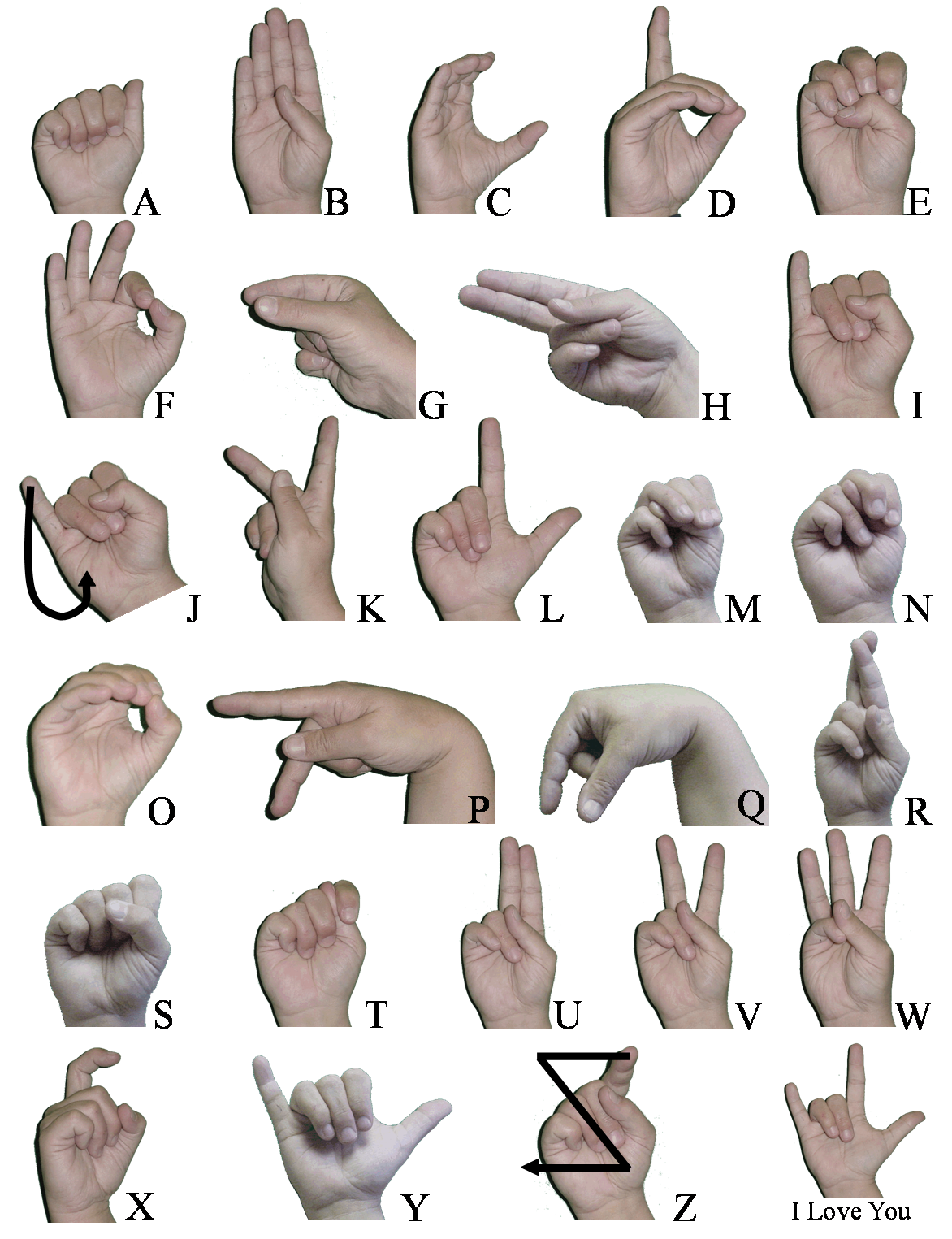 routine life measurements sign language basic hands